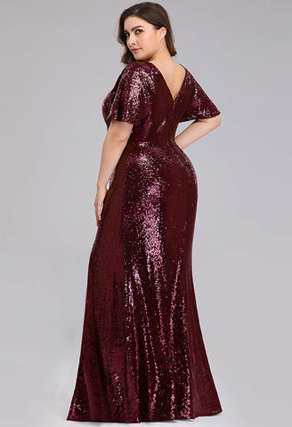 Image of Plus Size Evening Dresses Sequin Slit Mermaid - 7