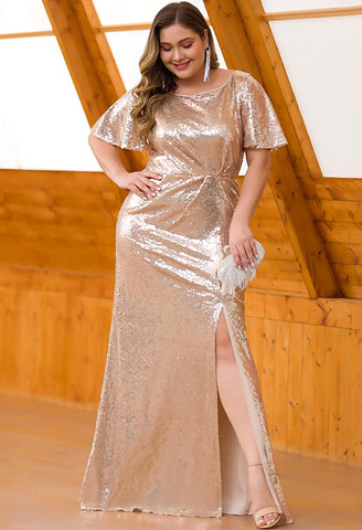 Plus Size Evening Dresses Sequin Slit Mermaid - 14