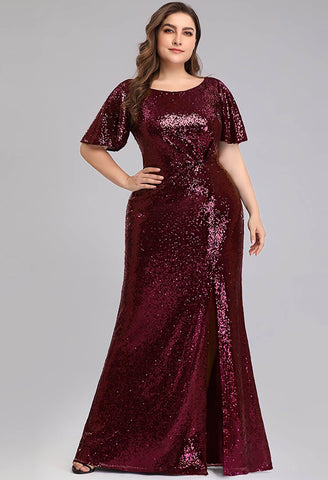 Plus Size Evening Dresses Sequin Slit Mermaid - 8