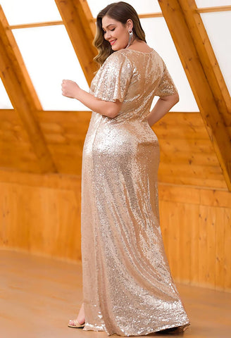 Image of Plus Size Evening Dresses Sequin Slit Mermaid - 12