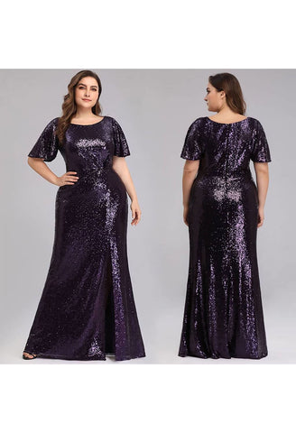 Image of Plus Size Evening Dresses Sequin Slit Mermaid - 5