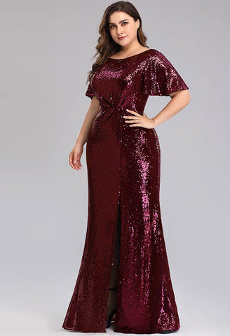 Plus Size Evening Dresses Sequin Slit Mermaid - 6