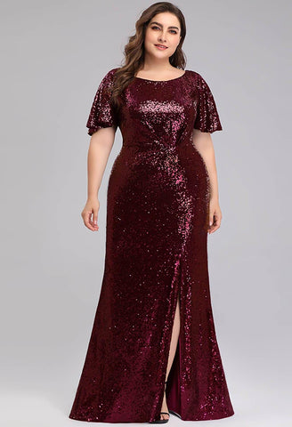 Plus Size Evening Dresses Sequin Slit Mermaid - 9