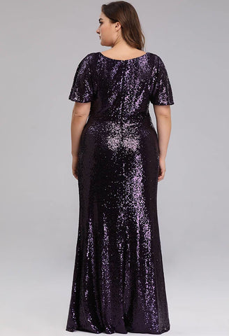 Plus Size Evening Dresses Sequin Slit Mermaid - 2