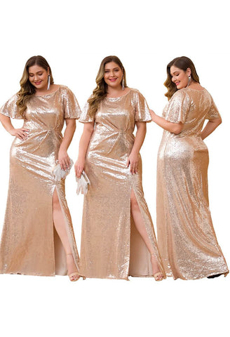 Image of Plus Size Evening Dresses Sequin Slit Mermaid - 15