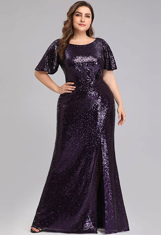 Plus Size Evening Dresses Sequin Slit Mermaid - 1