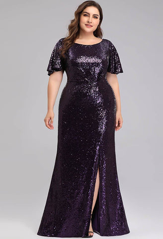 Plus Size Evening Dresses Sequin Slit Mermaid - 4