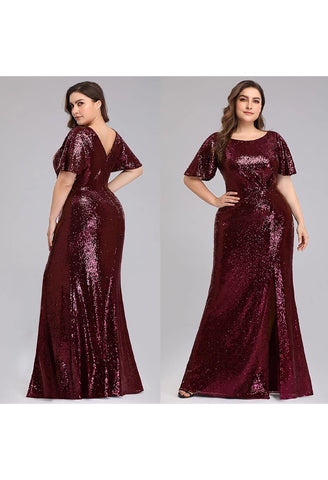 Plus Size Evening Dresses Sequin Slit Mermaid - 10