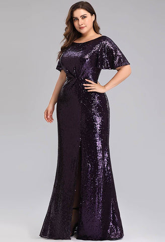 Plus Size Evening Dresses Sequin Slit Mermaid - 3