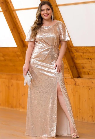 Image of Plus Size Evening Dresses Sequin Slit Mermaid - 13