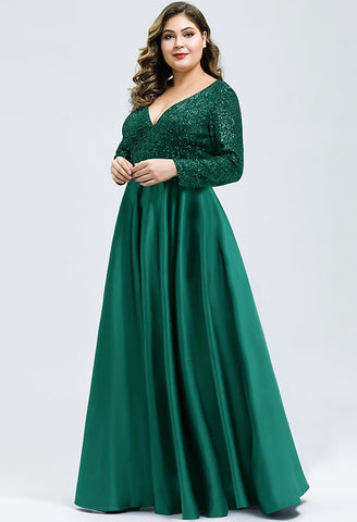 Image of Plus Size Evening Gowns V-Neck Sequin Satin - 3
