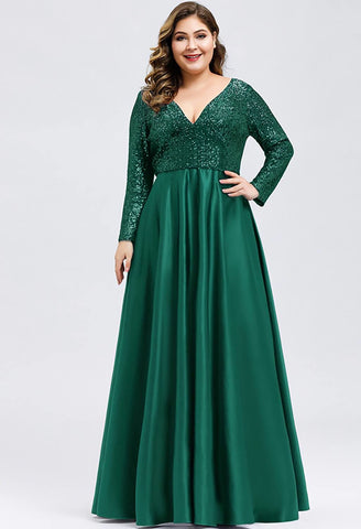 Image of Plus Size Evening Gowns V-Neck Sequin Satin - 4