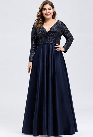 Image of Plus Size Evening Gowns V-Neck Sequin Satin - 11