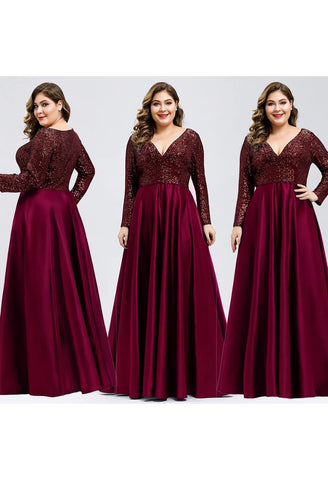 Image of Plus Size Evening Gowns V-Neck Sequin Satin - 10