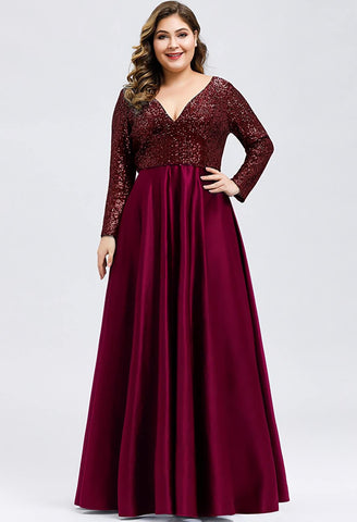 Image of Plus Size Evening Gowns V-Neck Sequin Satin - 9