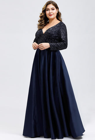 Image of Plus Size Evening Gowns V-Neck Sequin Satin - 14