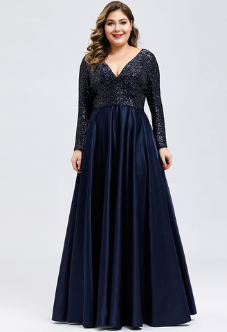 Image of Plus Size Evening Gowns V-Neck Sequin Satin - 13