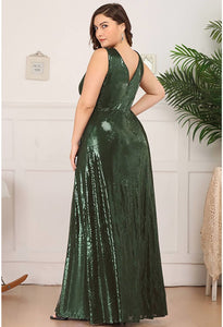 Plus Size Gorgeous Double V Neck Sleeveless Sequin Dress - 13