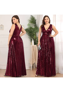Plus Size Gorgeous Double V Neck Sleeveless Sequin Dress - 5