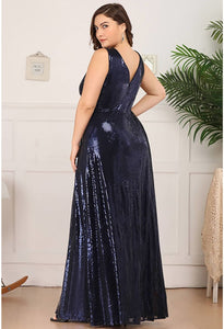 Plus Size Gorgeous Double V Neck Sleeveless Sequin Dress - 8