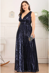 Plus Size Gorgeous Double V Neck Sleeveless Sequin Dress - 7