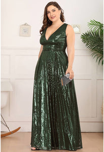 Plus Size Gorgeous Double V Neck Sleeveless Sequin Dress - 12