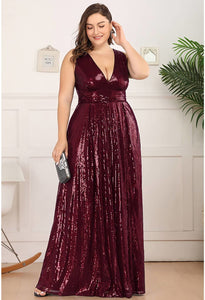 Plus Size Gorgeous Double V Neck Sleeveless Sequin Dress - 4