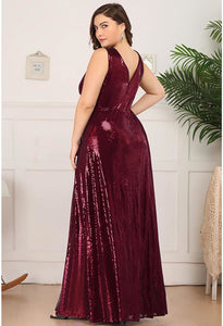 Plus Size Gorgeous Double V Neck Sleeveless Sequin Dress - 3