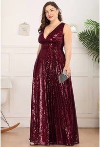 Plus Size Gorgeous Double V Neck Sleeveless Sequin Dress - 2