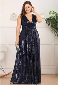 Plus Size Gorgeous Double V Neck Sleeveless Sequin Dress - 9