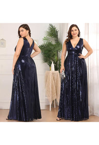 Plus Size Gorgeous Double V Neck Sleeveless Sequin Dress - 10