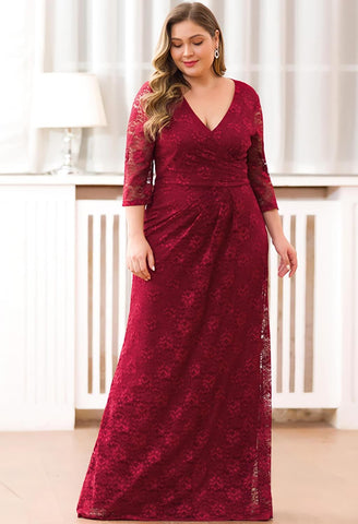 Plus Size Lace Mother of the Bride Dresses with Half Sleeves - 6