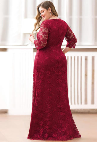 Image of Plus Size Lace Mother of the Bride Dresses with Half Sleeves - 7