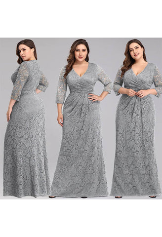Image of Plus Size Lace Mother of the Bride Dresses with Half Sleeves - 5