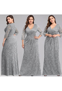 Plus Size Lace Mother of the Bride Dresses with Half Sleeves - 5