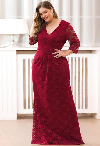Image of Plus Size Lace Mother of the Bride Dresses with Half Sleeves - 8