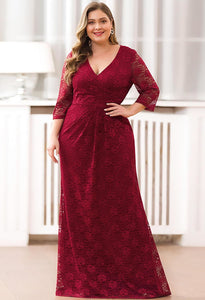 Plus Size Lace Mother of the Bride Dresses with Half Sleeves - 9