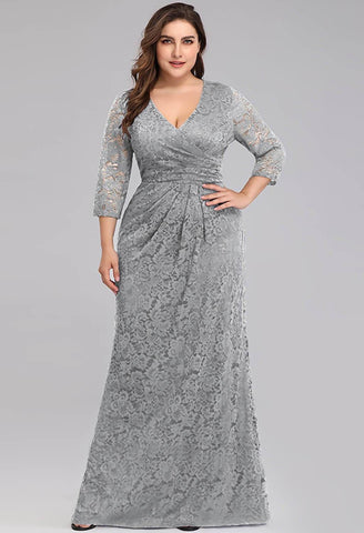 Image of Plus Size Lace Mother of the Bride Dresses with Half Sleeves - 1