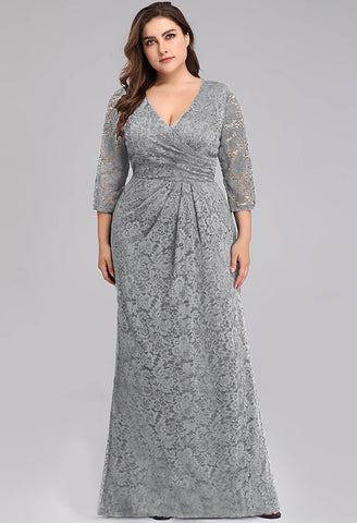Image of Plus Size Lace Mother of the Bride Dresses with Half Sleeves - 4