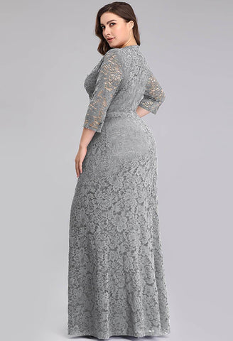 Image of Plus Size Lace Mother of the Bride Dresses with Half Sleeves - 2