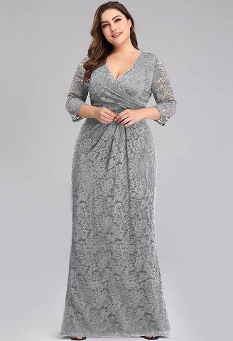 Image of Plus Size Lace Mother of the Bride Dresses with Half Sleeves - 3