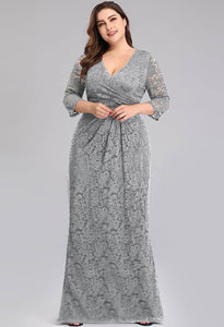 Plus Size Lace Mother of the Bride Dresses with Half Sleeves - 3