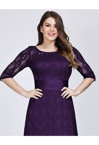 Image of Plus Size Mother of the Bride Dress Long Sleeve Lace Formal - 4