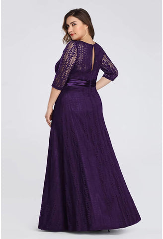 Image of Plus Size Mother of the Bride Dress Long Sleeve Lace Formal - 2