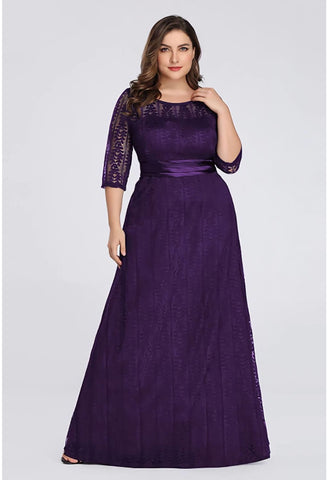 Image of Plus Size Mother of the Bride Dress Long Sleeve Lace Formal - 1