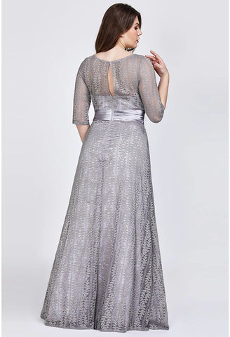 Image of Plus Size Mother of the Bride Dress Long Sleeve Lace Formal - 8