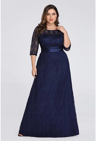 Image of Plus Size Mother of the Bride Dress Long Sleeve Lace Formal - 11