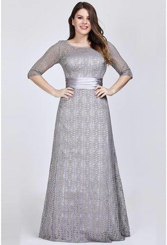 Image of Plus Size Mother of the Bride Dress Long Sleeve Lace Formal - 6