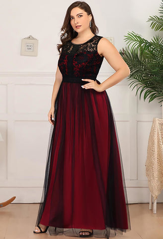Image of Plus Size Prom Dresses A-Line Maxi Long with Mesh - 8