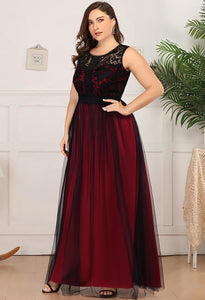 Plus Size Prom Dresses A-Line Maxi Long with Mesh - 8